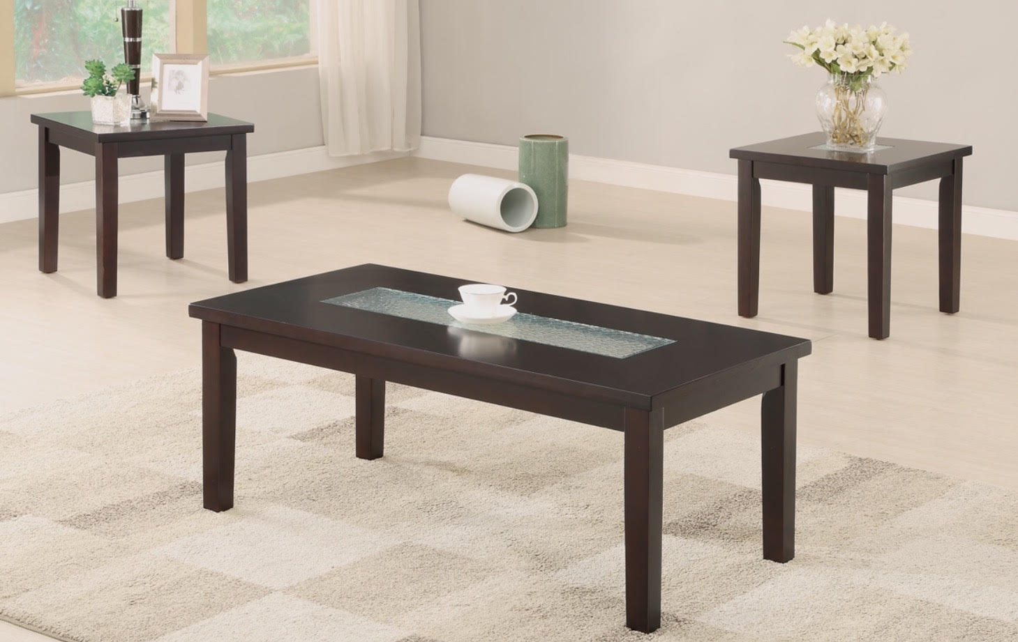 3-PCS COFFEE TABLE SET GLASS TOP & 3-PCS COFFEE TABLE SET GLASS TOP \u2014 American Discount Furniture