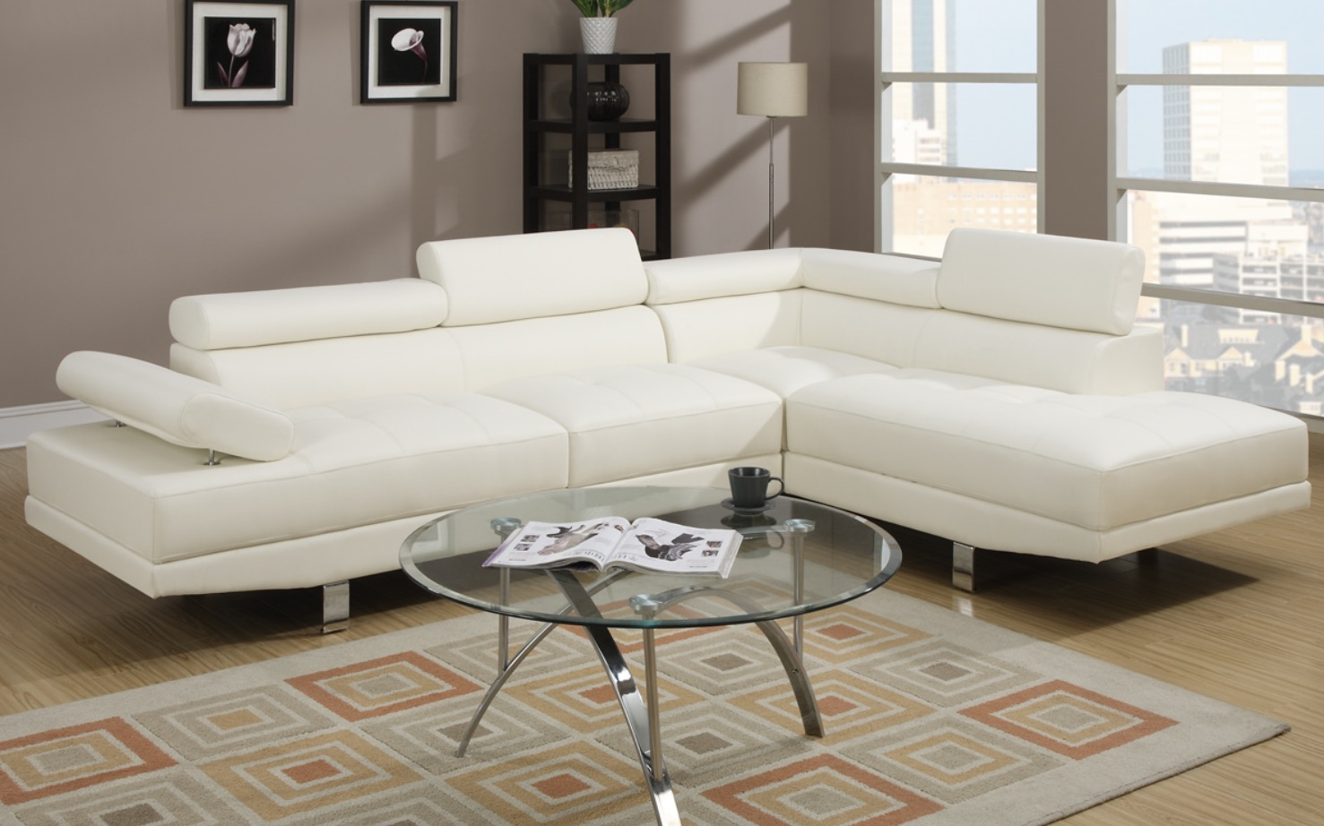 2 PCS SECTIONAL SOFA (Black Or White)