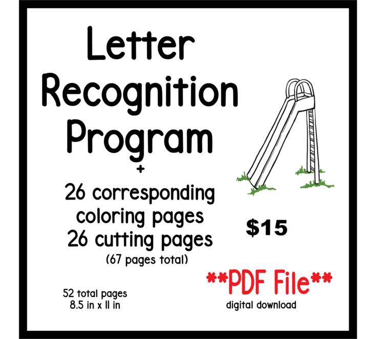 Letter Recognition Flashcards PDF File Plus 26 Coloring And Cutting Pages