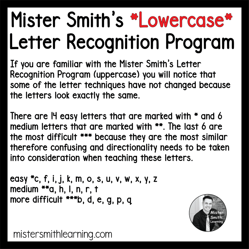 Mister Smiths Lowercase Letter Recognition Program