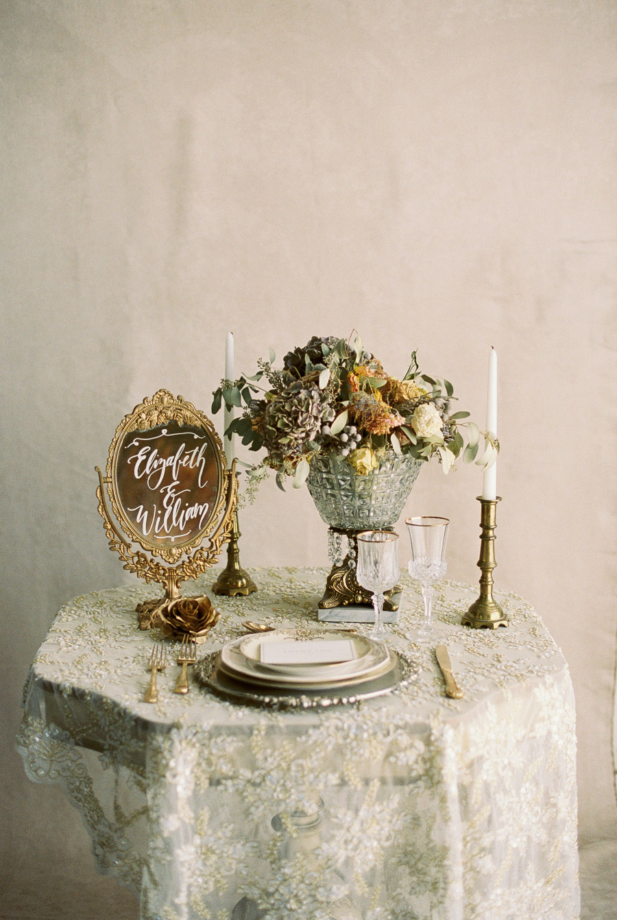 Vintage Gold Table Setting | by Lara Lam Photography