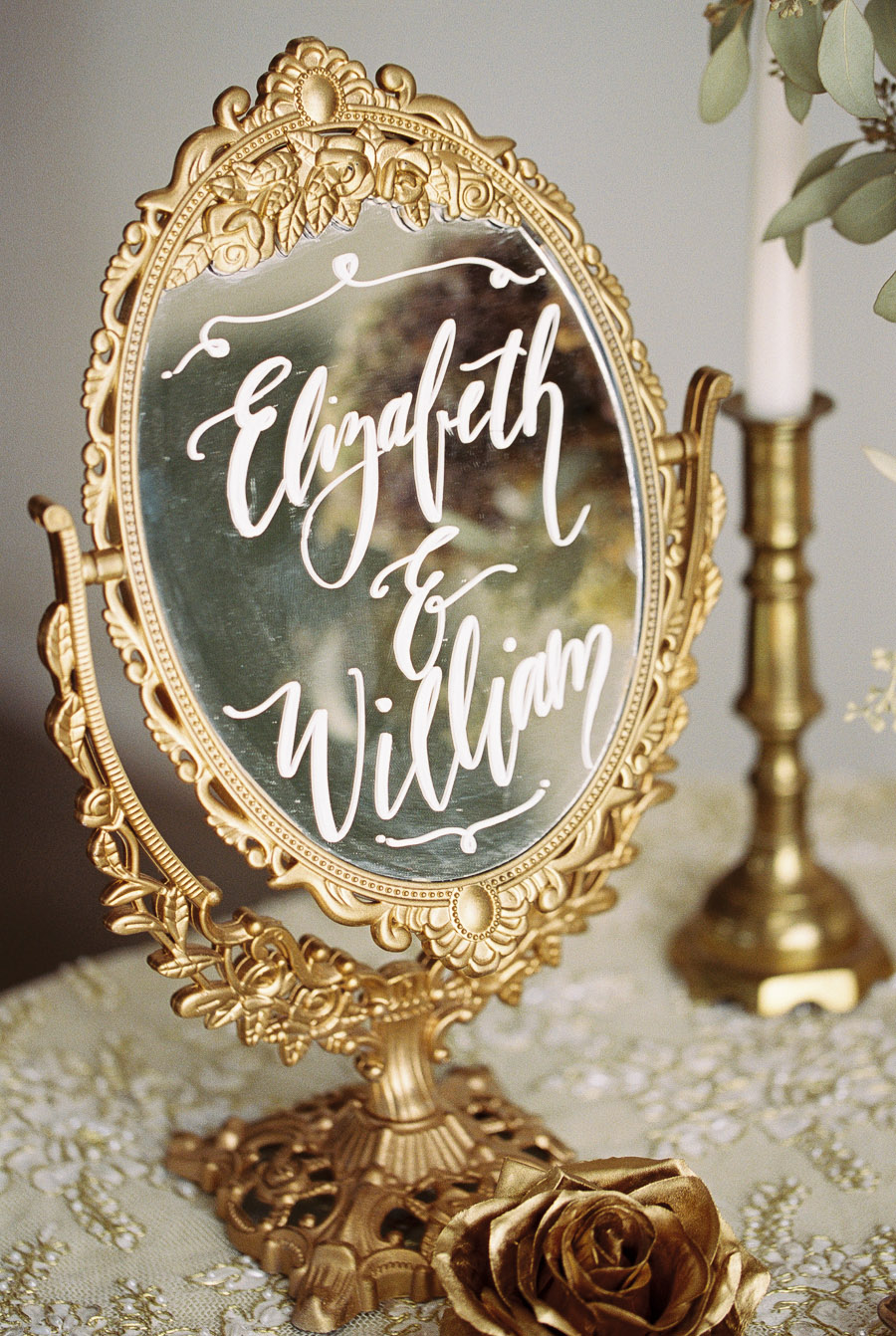 Calligraphy on Gold Vintage Mirror | by Lara Lam Photography