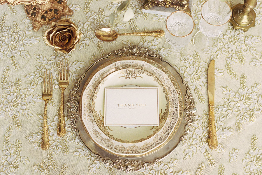 Gold Vintage Place Setting with place card for wedding | by Lara Lam Photography