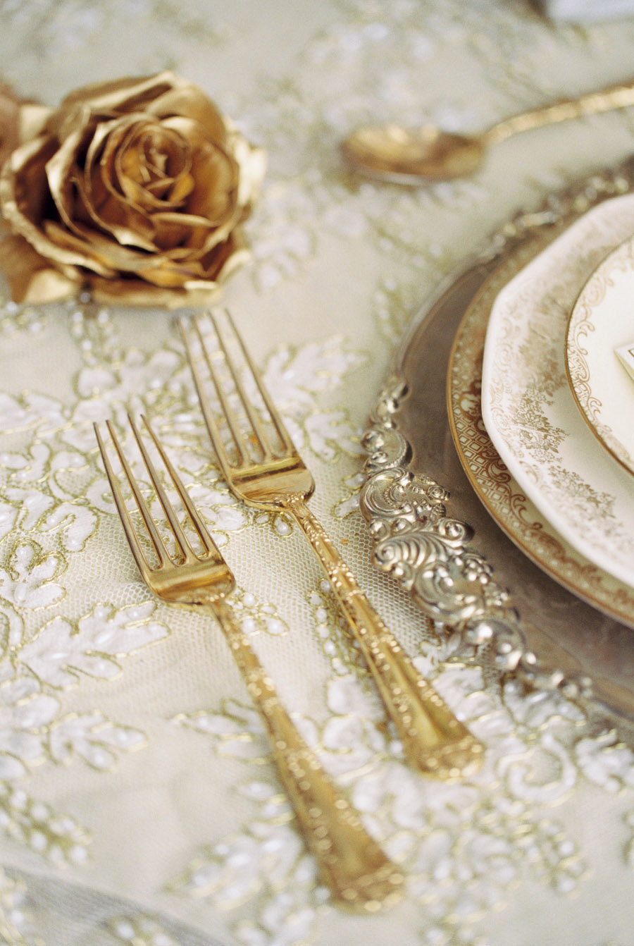 gold vintage tableware for wedding table settings | by Lara Lam Photography
