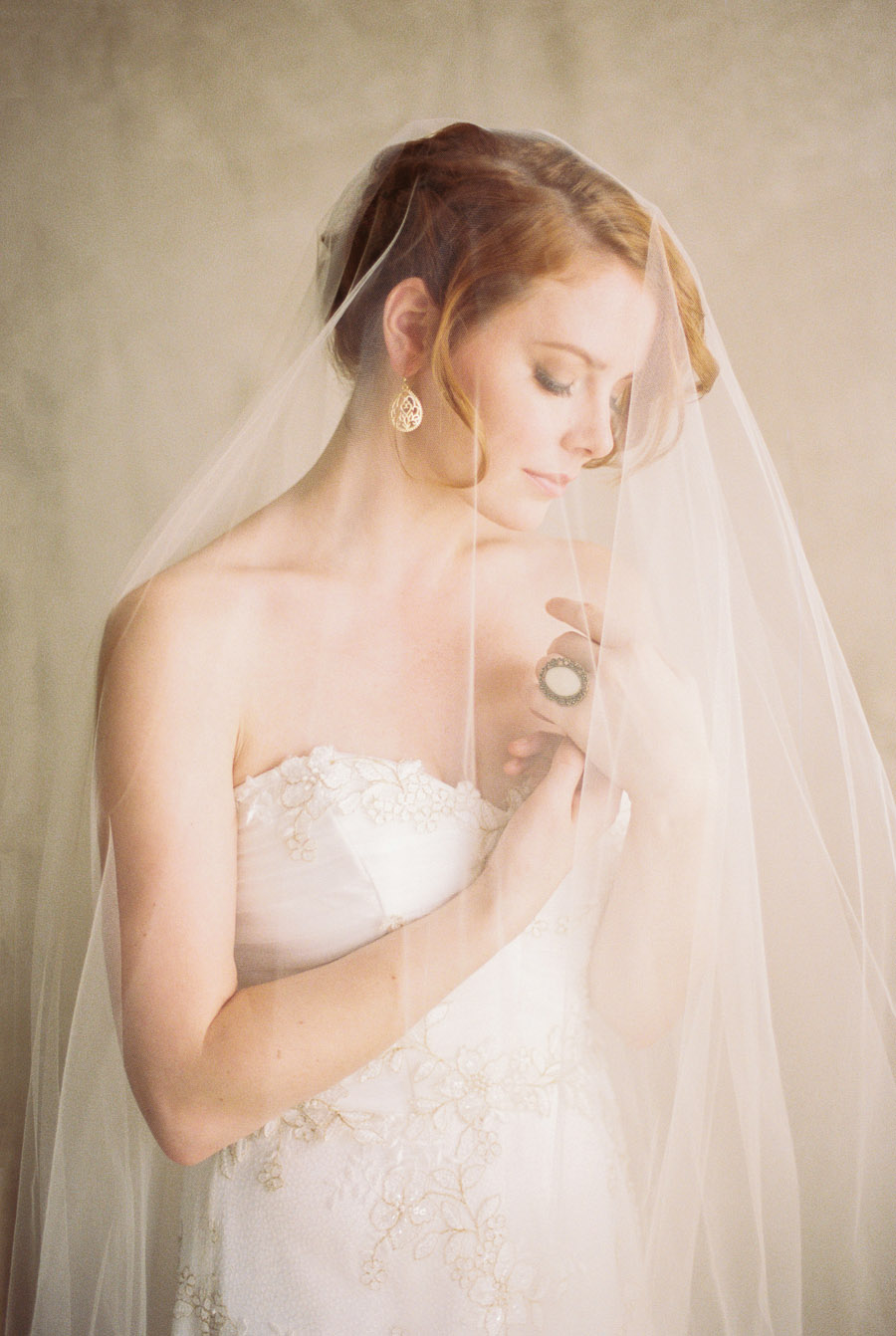Fingertip drop veil with lace wedding dress | by Lara Lam Photography