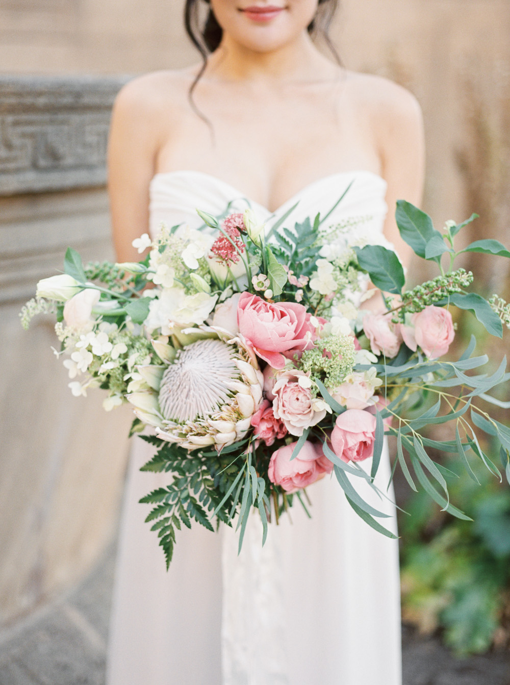 Blush and pink bridal bouquet inspiration peony and roses with greenery and spring colors  | by Lara Lam photography