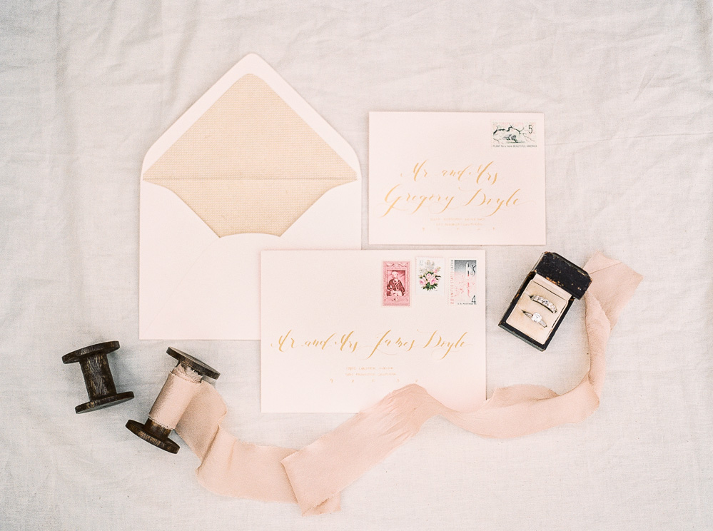Gold and pink wedding invitation suite | by Lara Lam photography