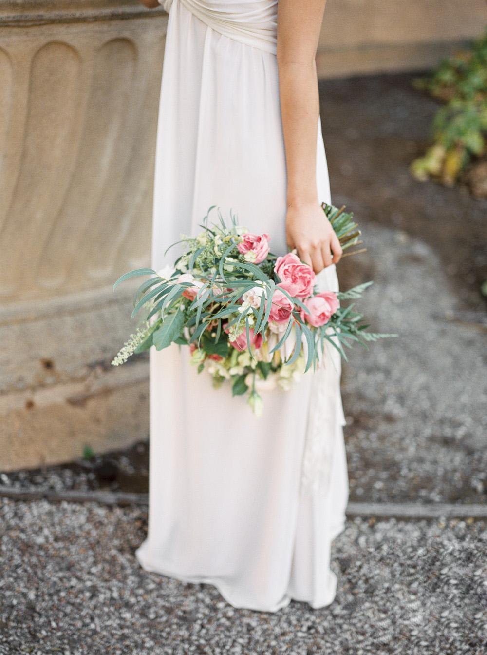 Romantic blush pink bridal bouquet fine art film wedding photographer   | by Lara Lam photography