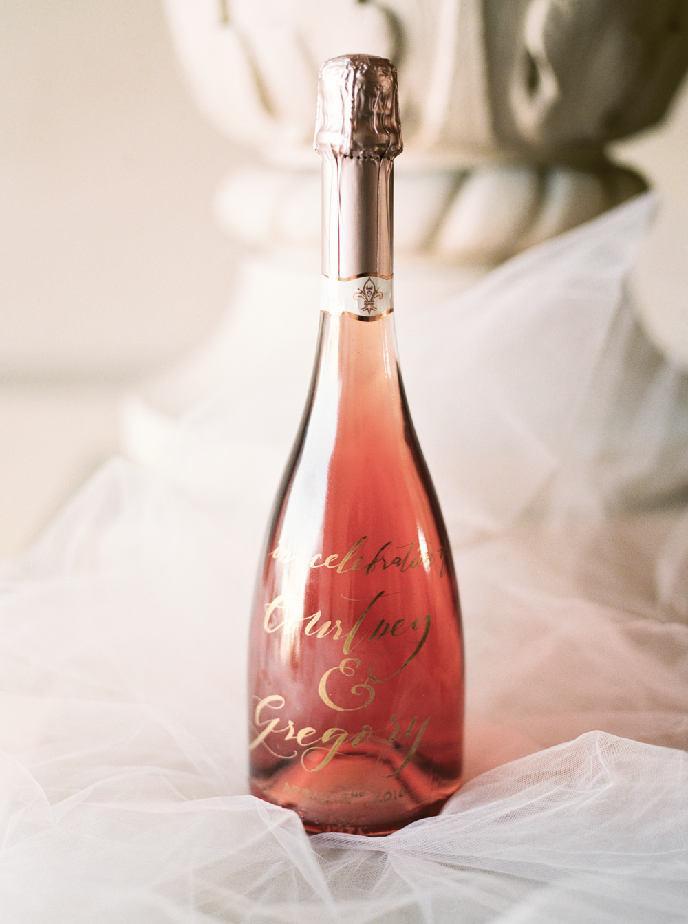 Gold Calligraphy on Rose Champagne Bottle  | by Lara Lam photography