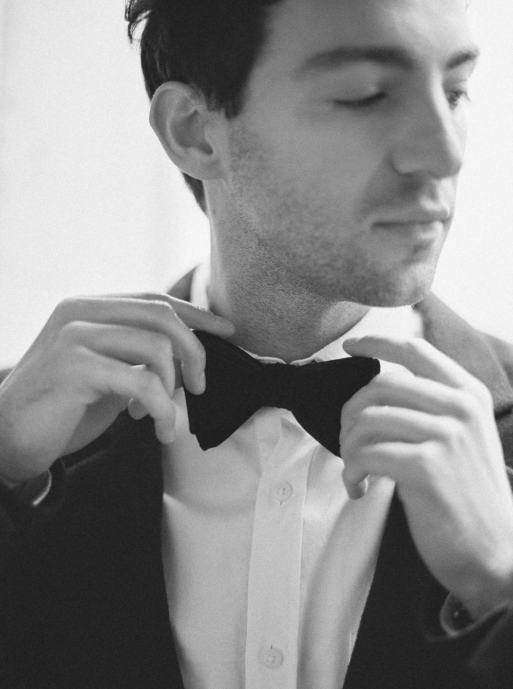Zara Men Suit for Groom bow tie black and white film
