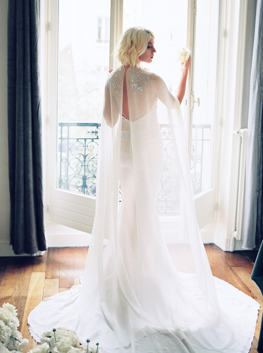 silk wedding gown with beaded cape paolo corona paris wedding | Paris wedding photography by Lara Lam