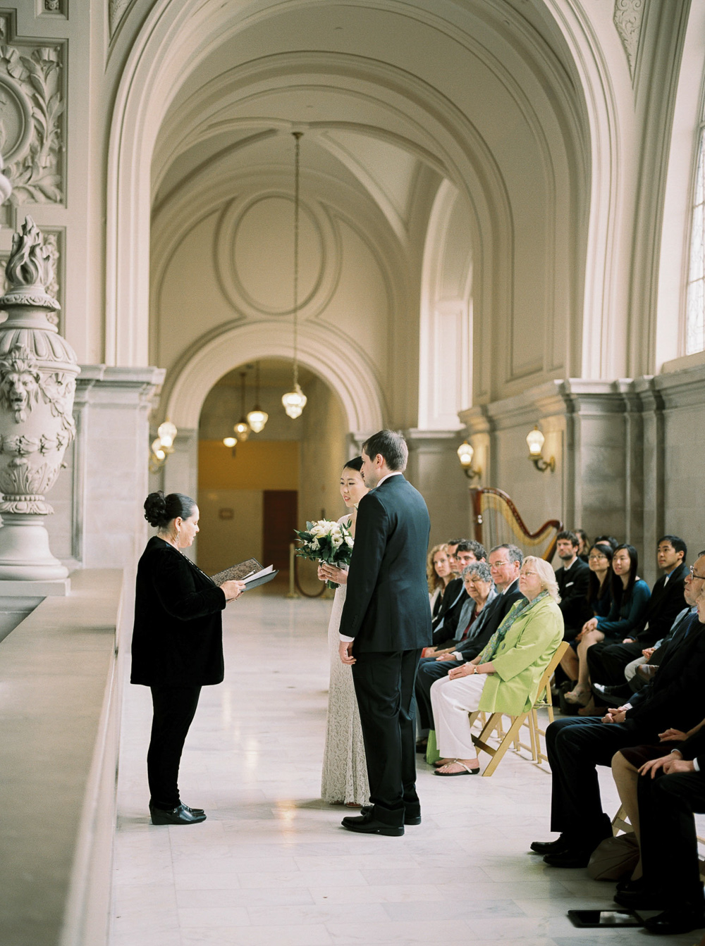 gorgeous San francisco city hall 4th floor wedding ceremony vintage chic