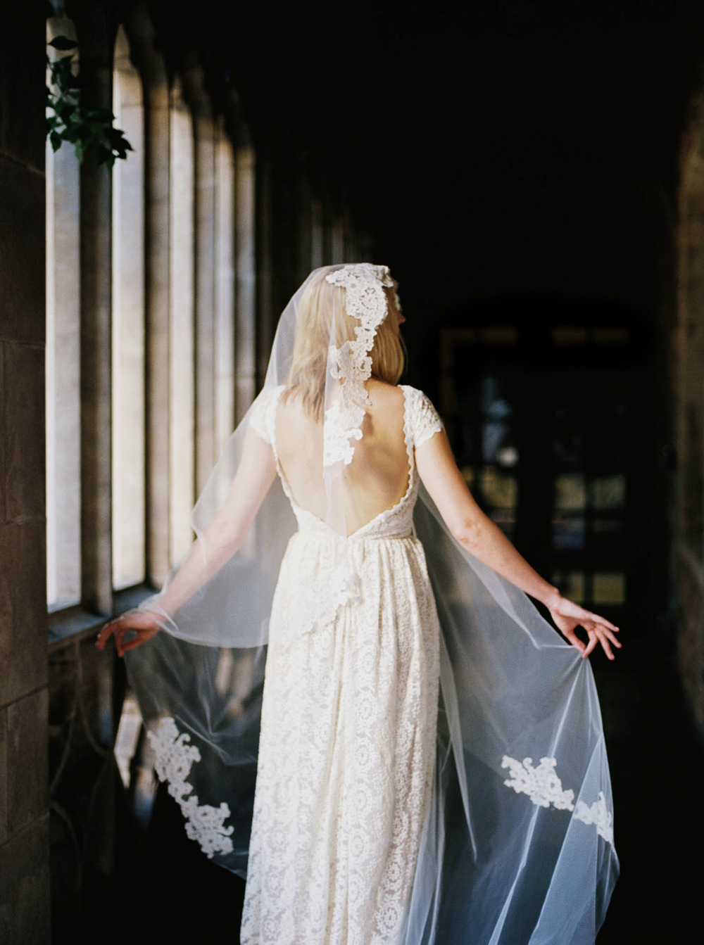 lace wedding veil with lace wedding dress inspiration
