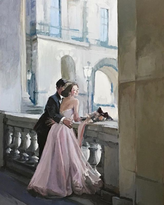Oil on canvas by talented independent artist Jean @firstdancepaintings, painting created from one of my couple's special moment captured in Paris. Hair and make up by @jinjuthamakeup @jinjuthabridal | floral design by @floraisonparis | dress by @watters | accessories by @downtheaisleatelier #weddingphotography #weddingmakeup #parisweddingphotographer #elopement #prewedding #fineartwedding #elopementphotographer #pinkdress #oilpainting
