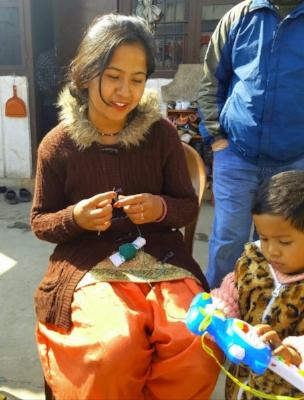 Crocheting bracelets in the Kathmandu Valley.