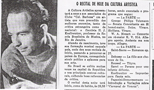 Figure 1: Koellreuter's recital was advertised in the  Jornal de Piracicaba  (October 22, 1952)