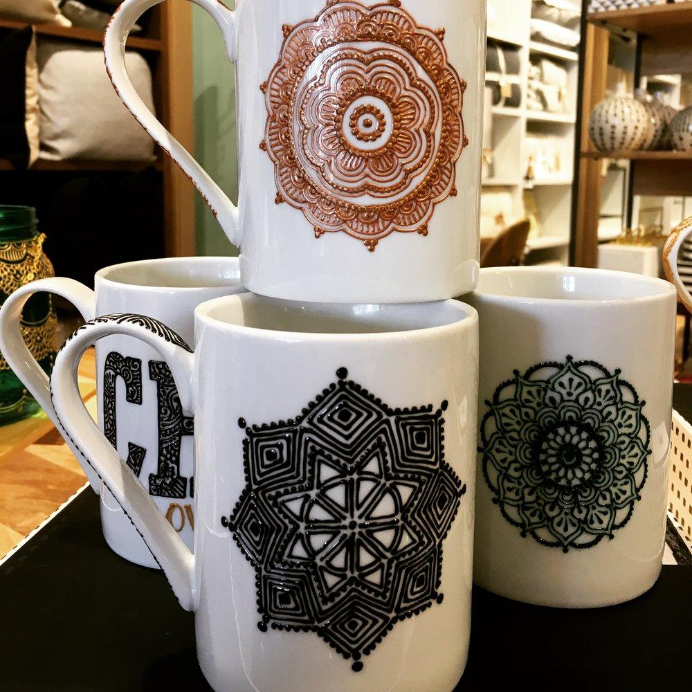 Coffee mugs.