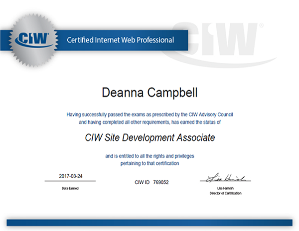CIW Certified Internet Webmaster Certification 2017