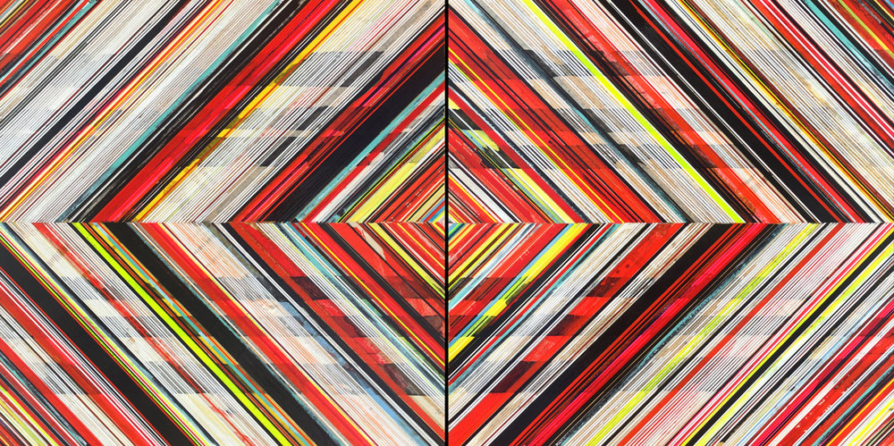 """High Resolution/Ojo (weaving) / 2016 / Diptych, 36""""h x 72""""w / Private collection"""