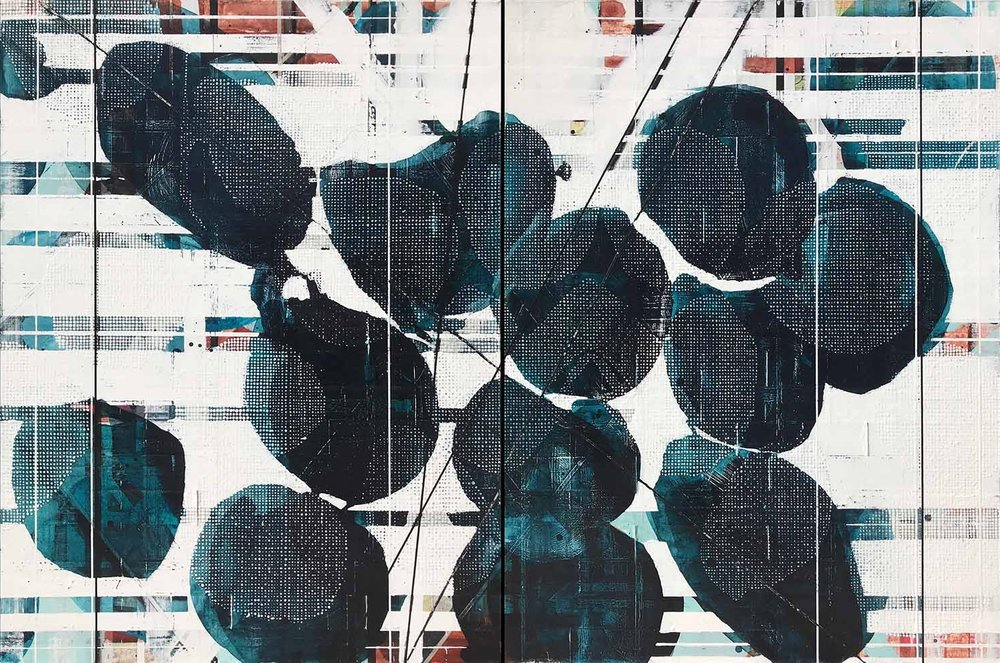 """A man couldn't make a habit of such color / 2018 / Diptych, 40""""h x 60""""w / Title from: """"The Wild"""" by Wendell Berry"""