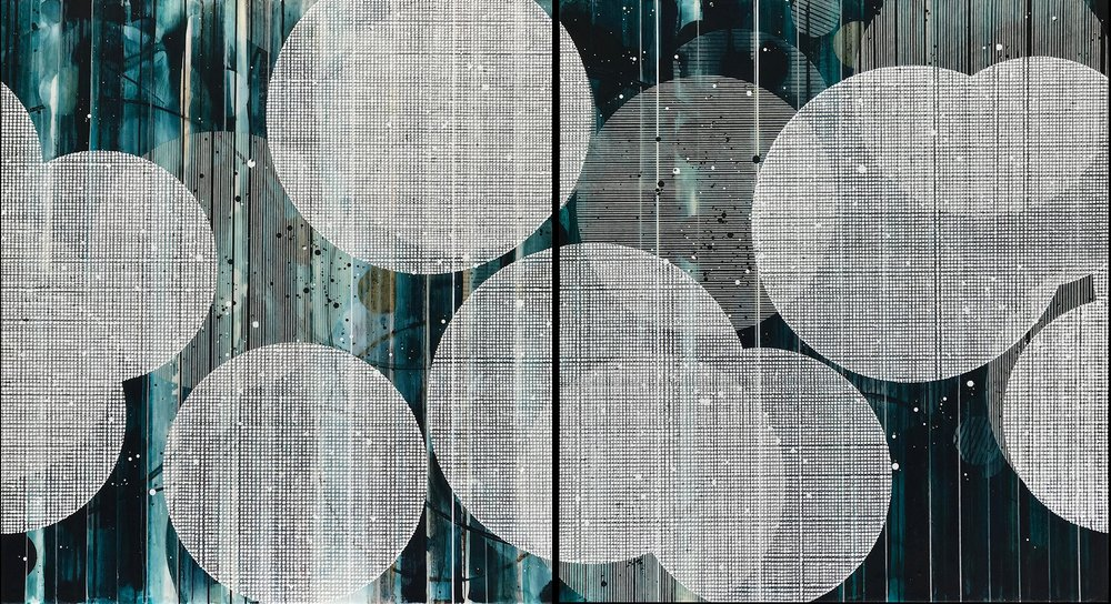 "Into the blue again / Lantern Series / 2018 / Diptych, 76'h x 42""w x 1.75""d / Painting and collage on panel / Unframed with bare wood edge / Title from: The Talking Heads"