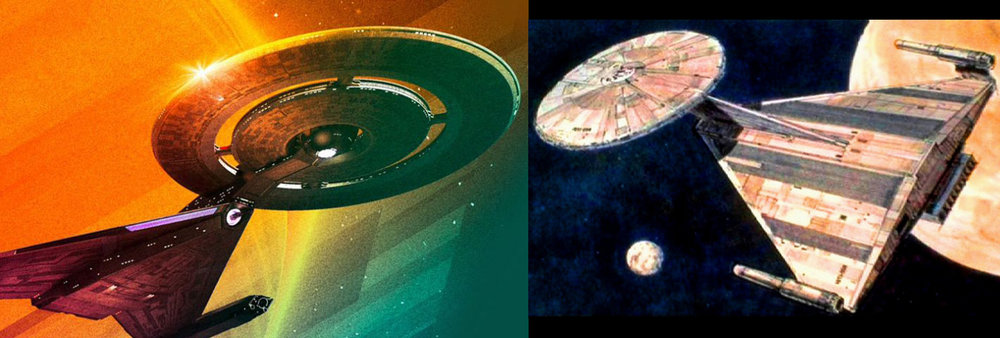 "At the time of recording none of us had seen Star Trek Discovery, so Ryan was shocked when he DISCOVERED that the design for the USS Enterprise from the defunct  ""Planet of the Titans""  motion picture (right) was re-purposed for the USS Discovery (left). It's still a cripplingly ugly vessel. But the new show is amazing."