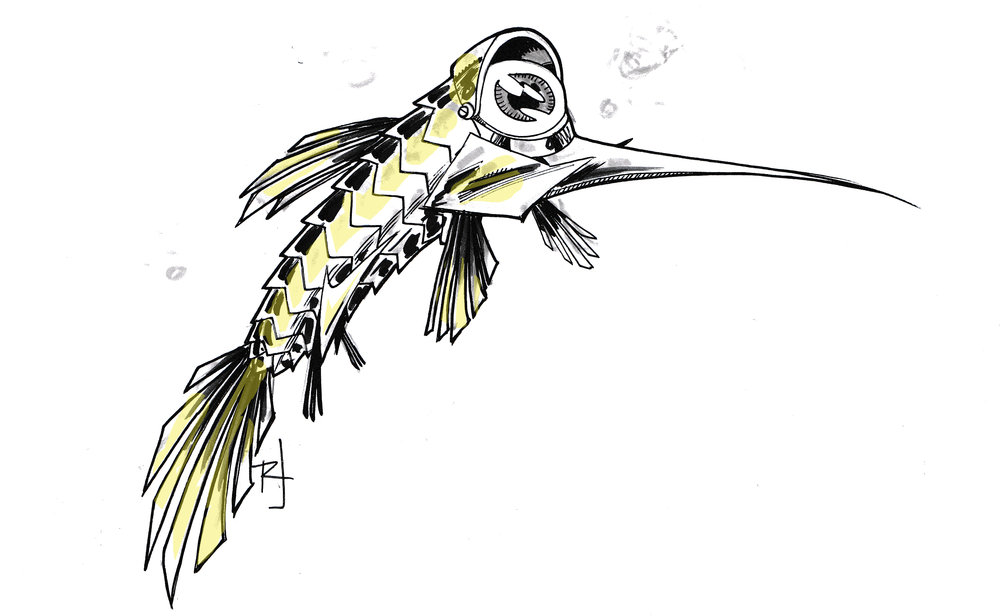 """Ryan's Floro Dery-esque design for the """"CURIOUS METALLIC """"PEEPER"""" FISH. The fish are cigar-shaped, long nosed, one-eyed and they PEEP, PEEP, PEEP like tinny chickens..."""""""