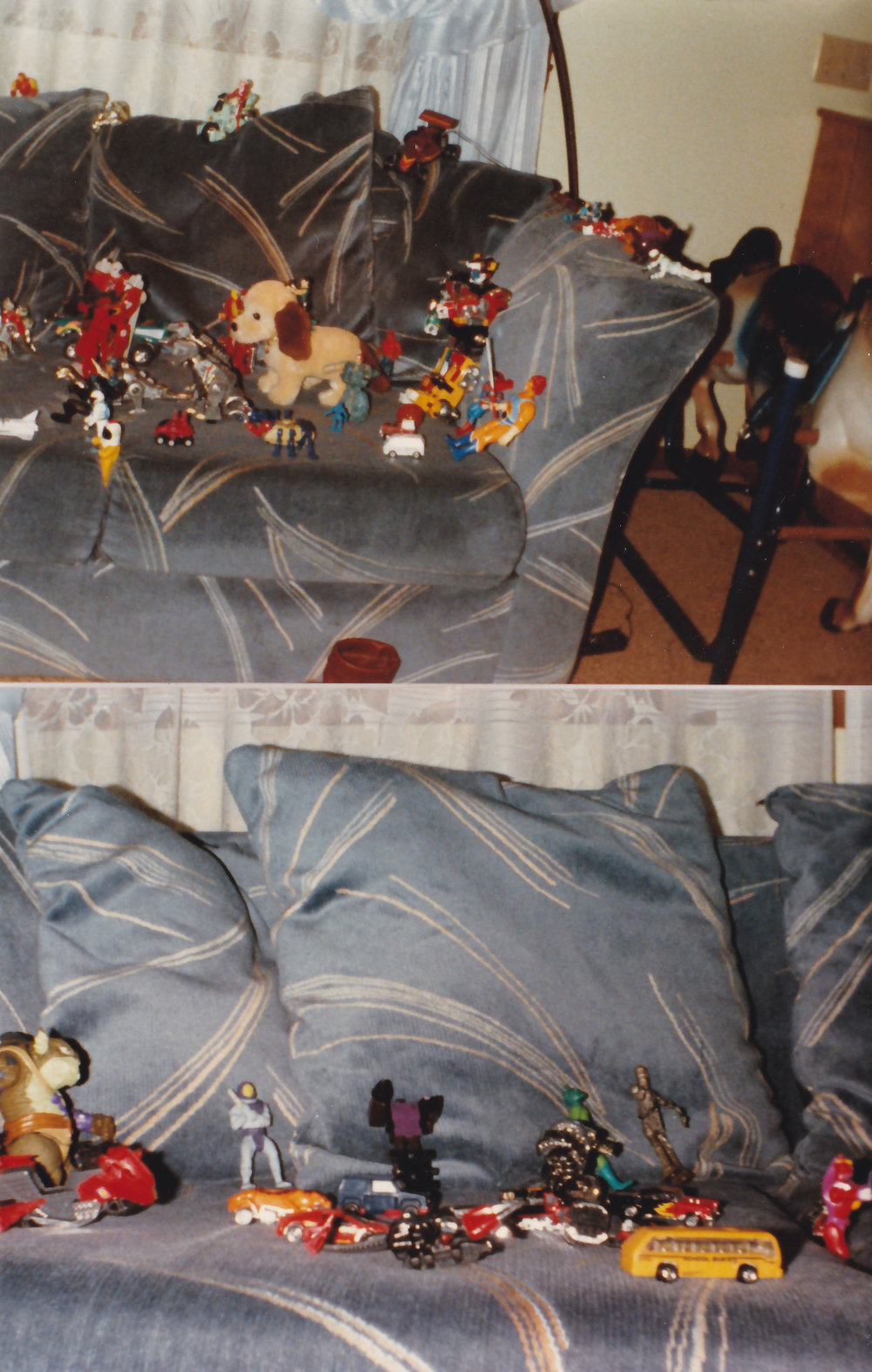 Ryan's Great Couch Wars of 1987. There's a lot going on here, Transformers, Voltron, Star Wars, ThunderCats, M.A.S.K., and some I can't remember. Rock Lords! And notice the bouncy hobby horse in the right corner of the first picture.