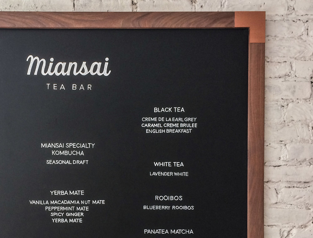Lettering forMiansai - Miansai is sold around the world in 40 US states and 36 countries including at the brand's flagship store in New York's Soho neighborhood, Venice Beach, and online.As artisan advocates for elevated aesthetics, the Miansai team reached out to have me hand letter their tea bar's 42