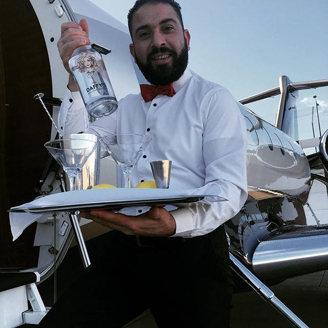Thanks to our friend and tame bartender Maher for all his efforts today @londoncityair for the @saxonair_ jet demo. Our very first serve on board World's Best Martini event. #ginfluencers  #privatejet #luxury #gin