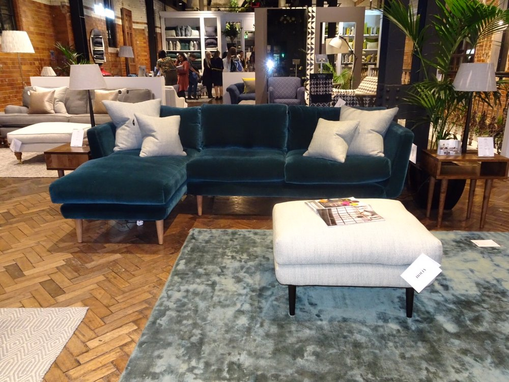 A glimpse of the Sofa.com HQ in Angel featuring this gorgeous velvet corner suite.