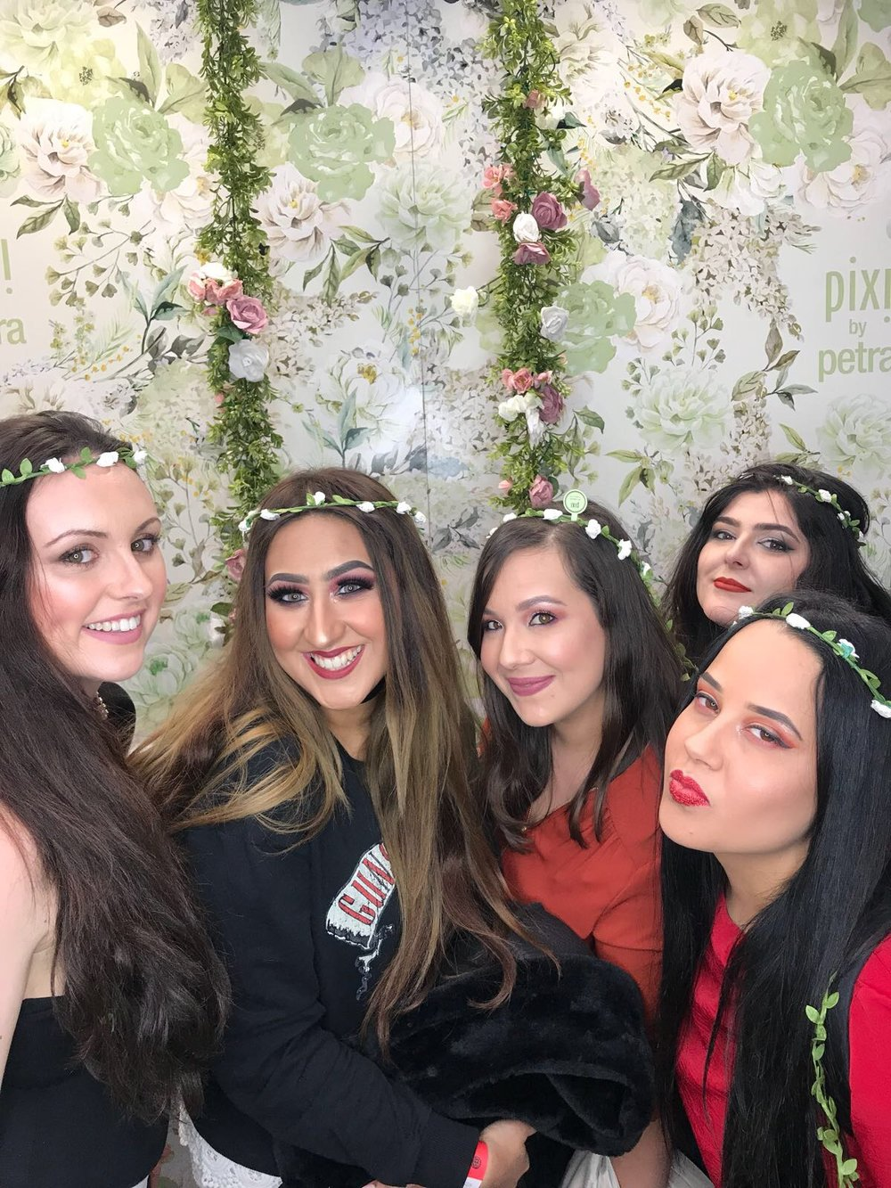 Me and the #GIRLGANG at the Pixi Beauty stall feauturing our cute little flower crowns. I can tell I was just about to blink- haha.