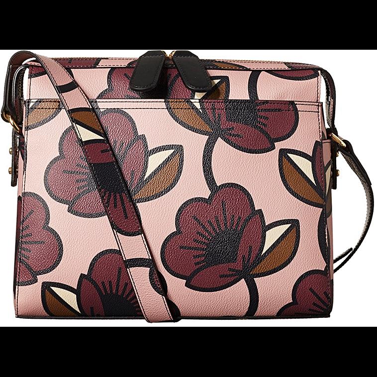 Passion Flower Textured Vinyl Large Iris Bag in Aubergine