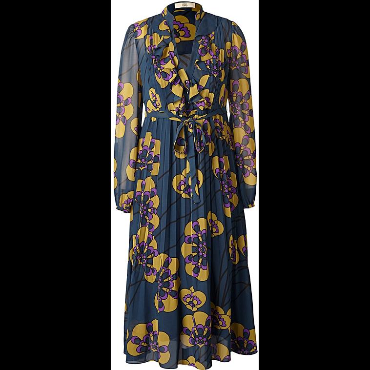 Printed Georgette June V Neck Fitted Dress in Indigo