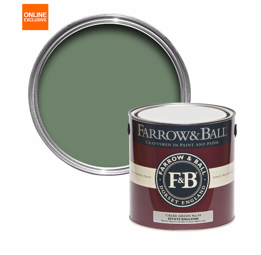 FARROW & BALL CALKE GREEN NO.34 MATT ESTATE EMULSION PAINT 2.5L