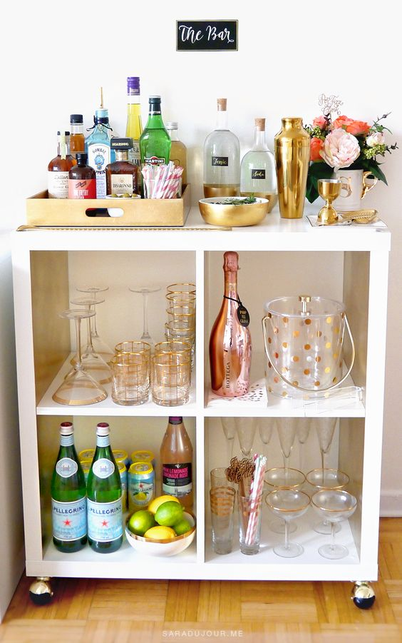 A Budget friendly bar cart solution via Sara du Jour. Genius!
