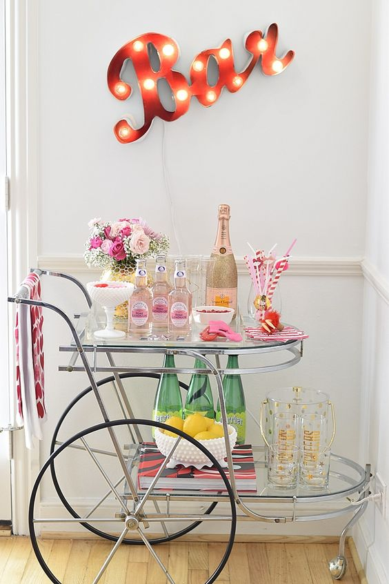 Now this is how you do Valentine's day in style! Oh how it's giving me ideas to make sparks fly on my own VTD! Valentine's day bar cart for the single lady, perhaps? Ha!