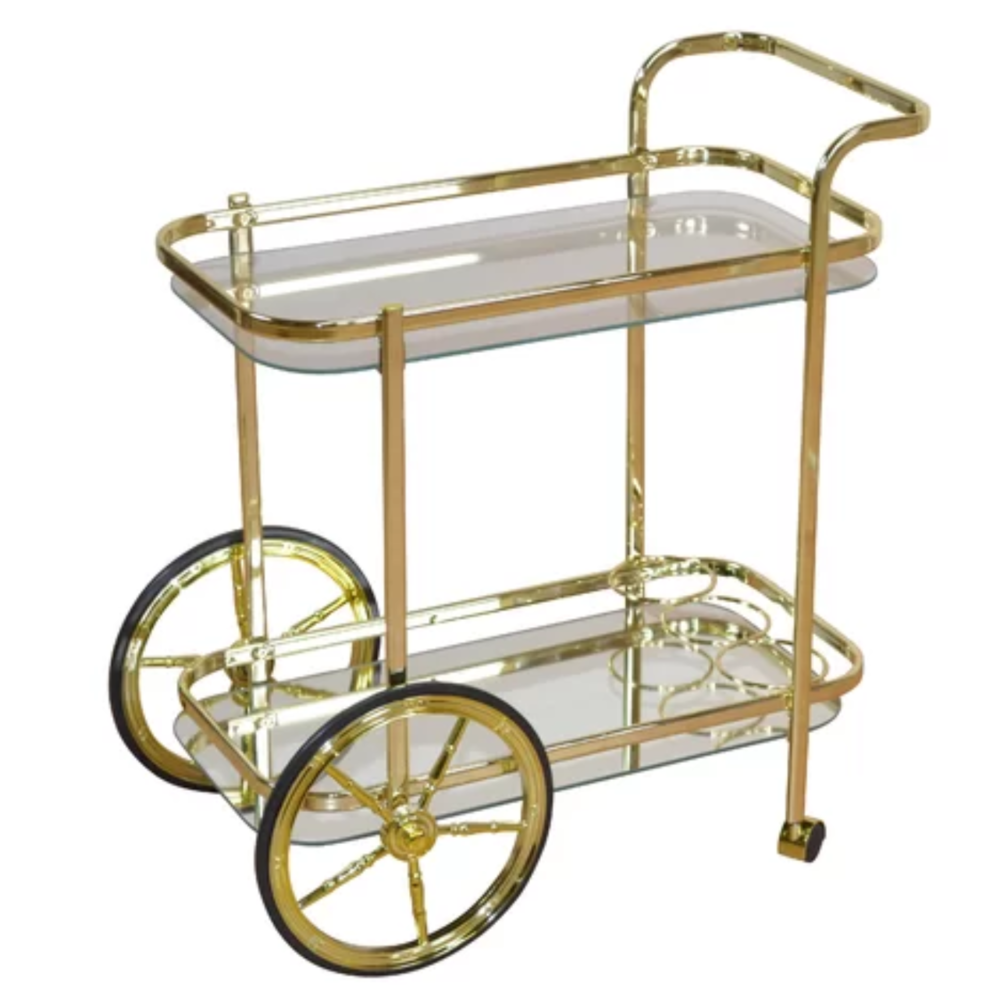 This gorgeous gold bar cart on wheels has the storage element that I'm just dying to have in mine! Bottle heaven.