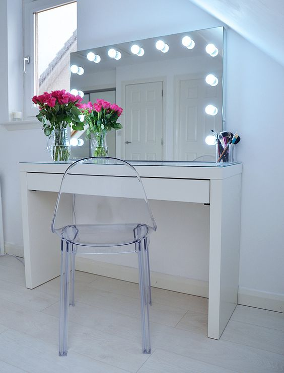 Ikea vanity solution using the Malm table via Forever Amber