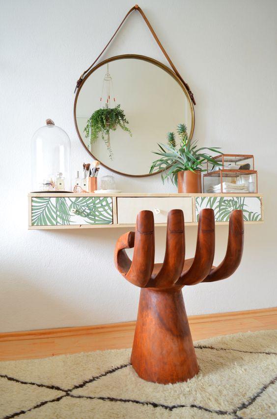Love this tropical boho dressing table solution via Make it Boho.