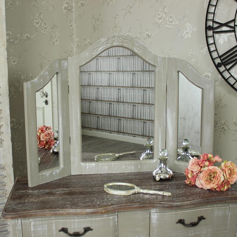 Ornate Grey Triple Dressing Table Vanity  Mirror - French  £64.95