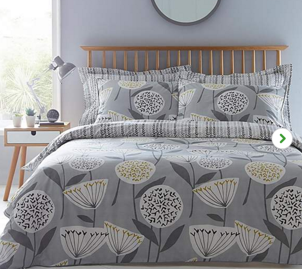 Elements Emmott Reversible Grey Duvet Cover and Pillowcase Set