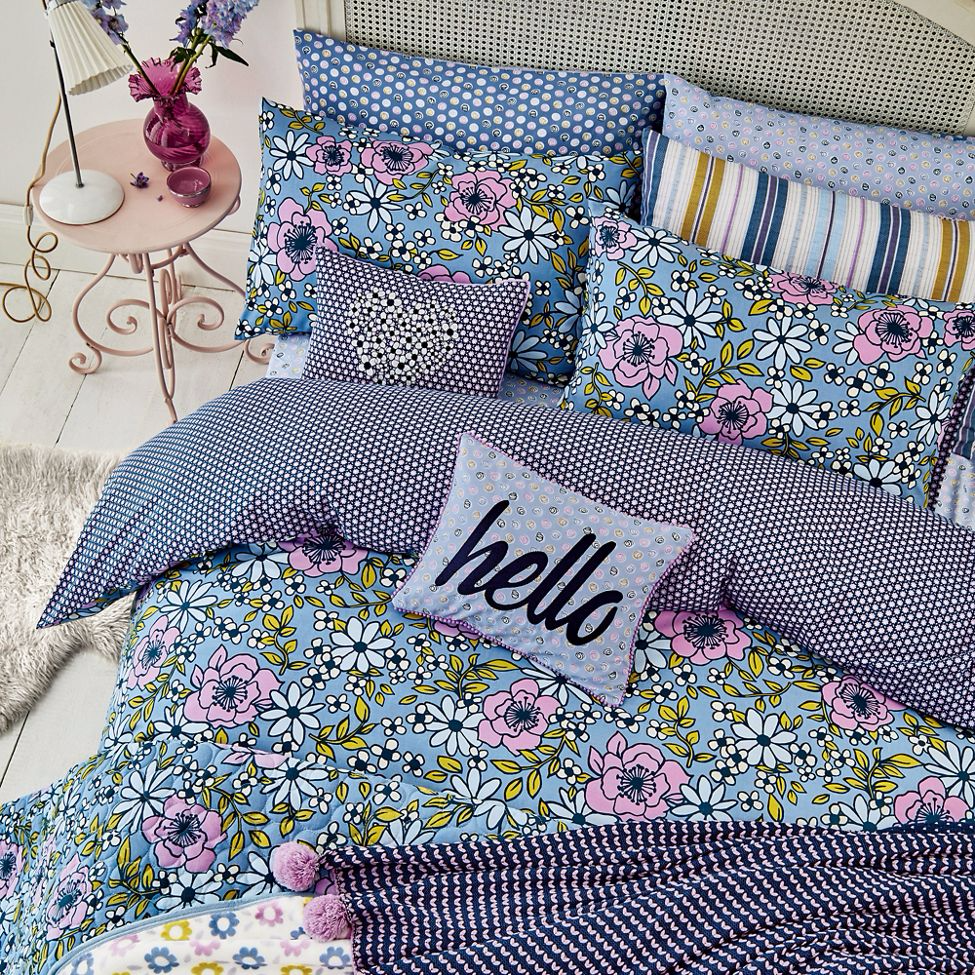 Helena Springfield - Blue polyester and cotton 'Pixie' bedding set