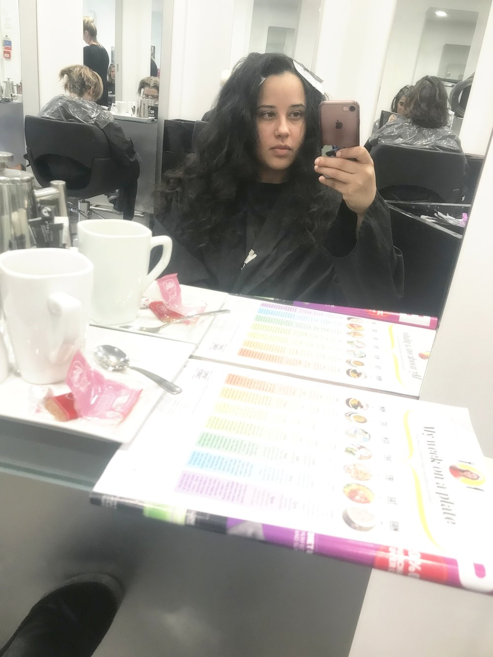 A very fresh faced me waiting for my stylist to come and work her magic.