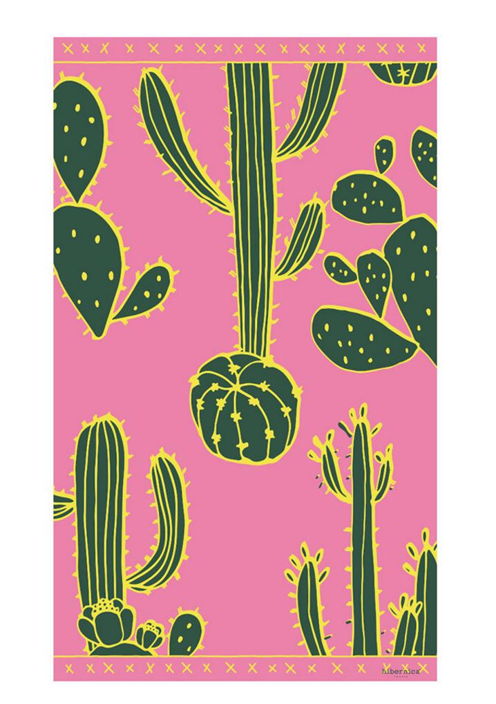 Cactus Field Vinyl Floor Mat - Green/Pink