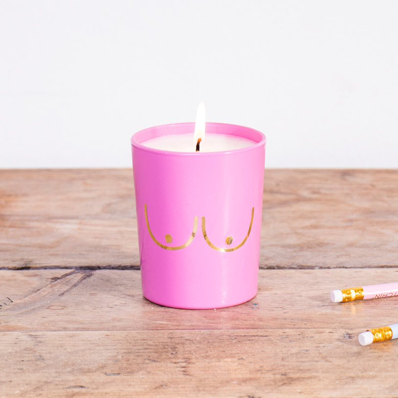 BRIGHT PINK BOOB CANDLE