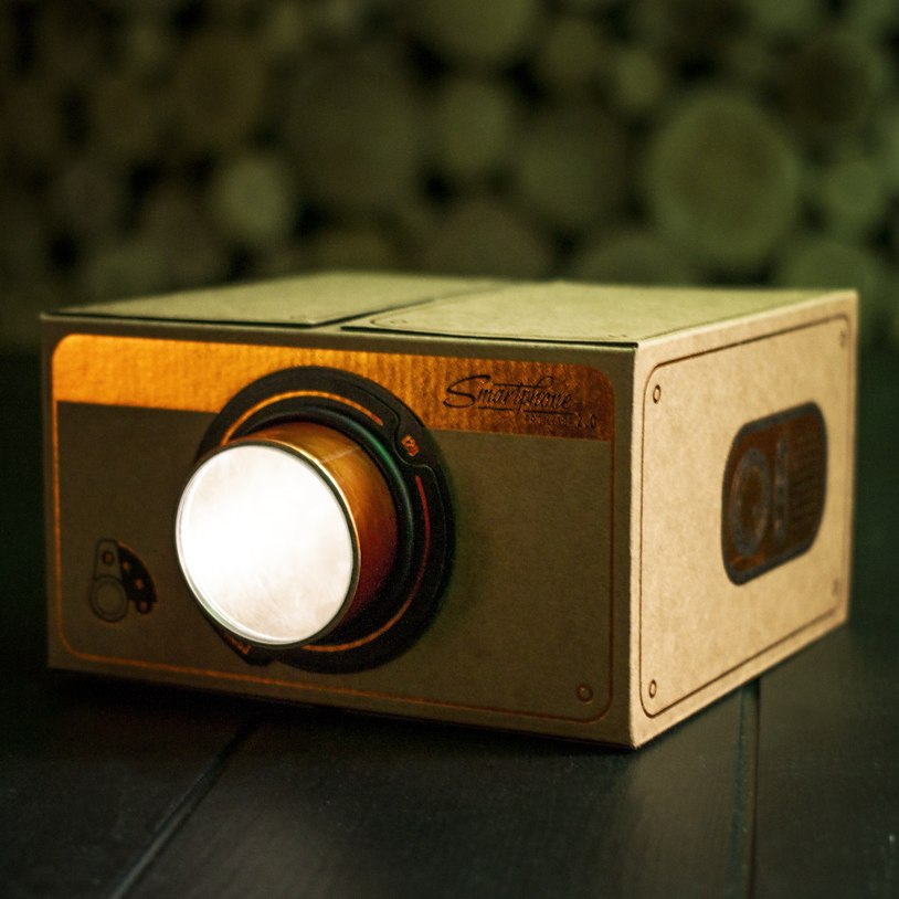 This crafty projector allows you to screen films, videos or artwork onto a wall and is made using a rigid cardboard with a retro finish.