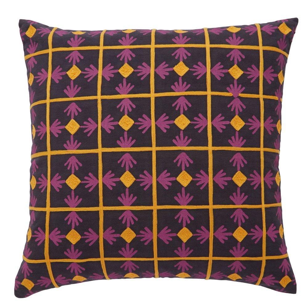 BAZAAR Multi-Coloured Geometric Embroidered Cushion