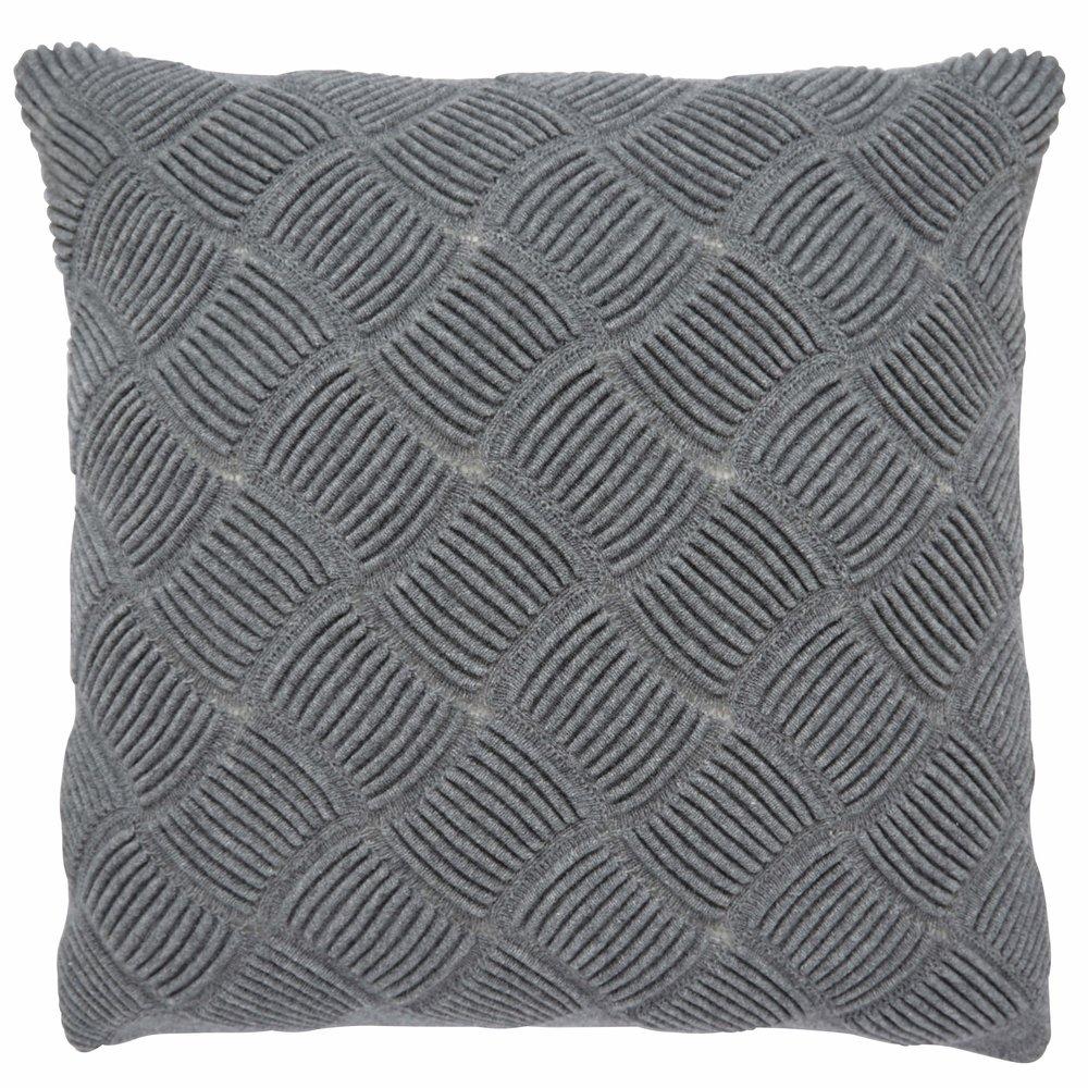 KEANU Grey Sculptural Knitted Cushion