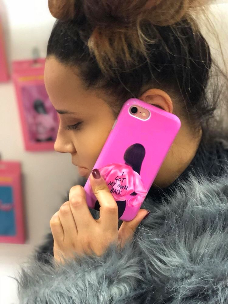"Me enjoying the ""Got my own back"" phone case"